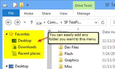 add favorite folders to windows explorer