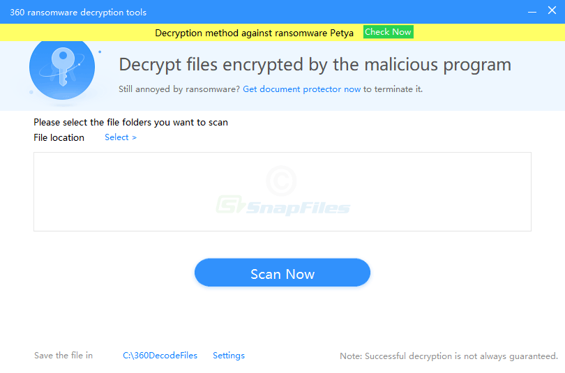 screen capture of 360 Ransomware Decryption Tools