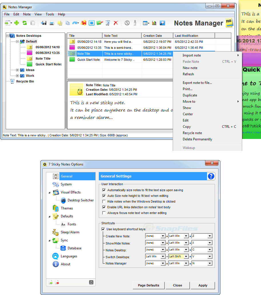 screenshot of 7 Sticky Notes