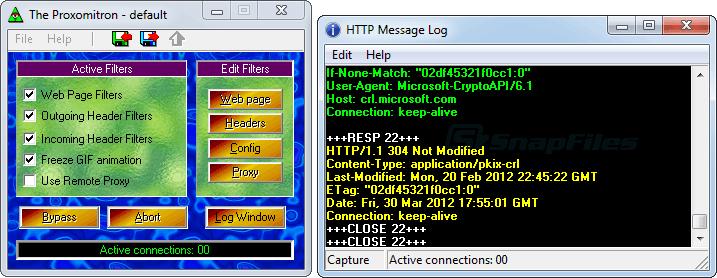 screen capture of Proxomitron