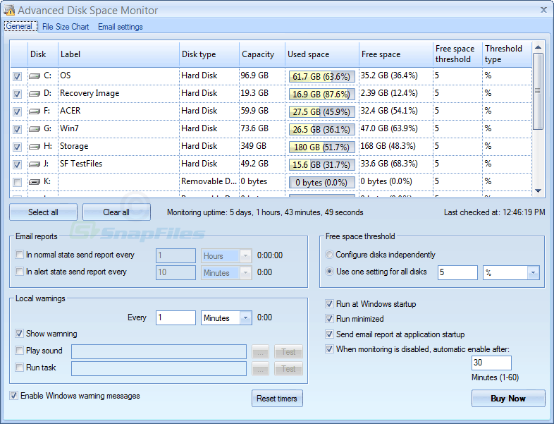 screen capture of Advanced Disk Space Monitor
