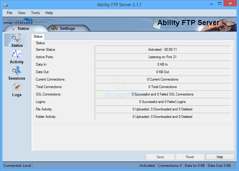 screen capture of Ability FTP Server