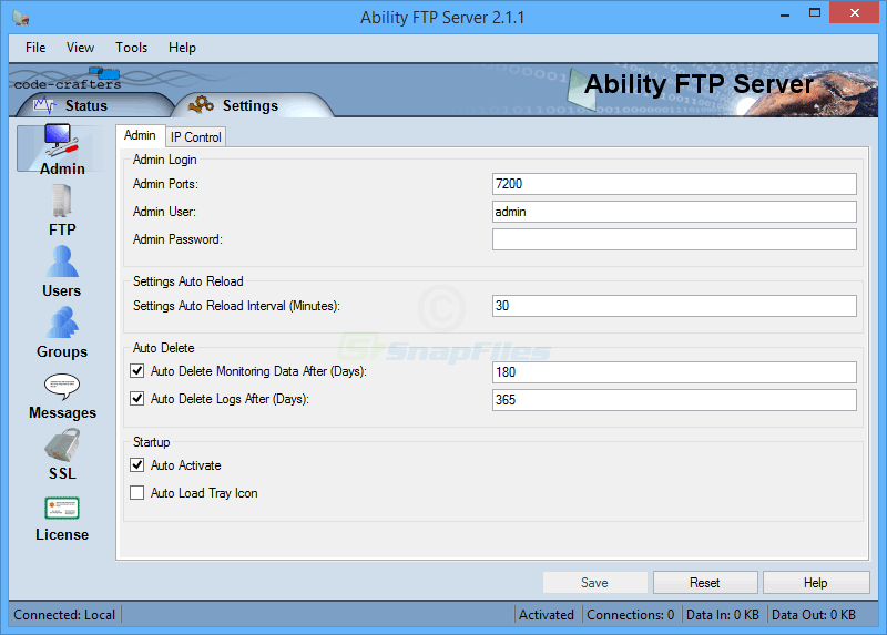 screenshot of Ability FTP Server