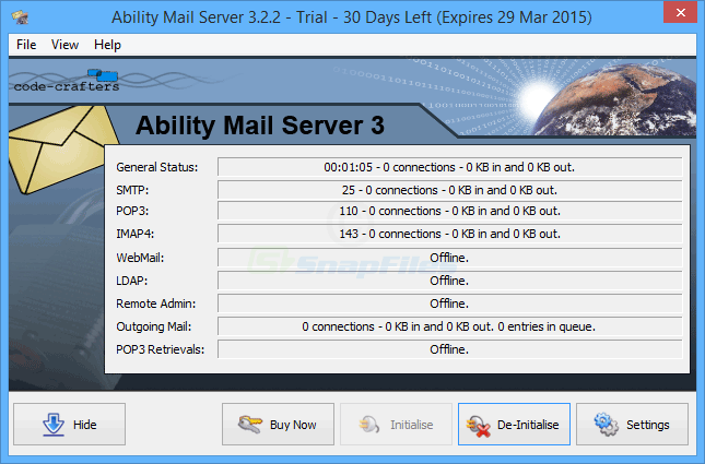 screen capture of Ability Mail Server