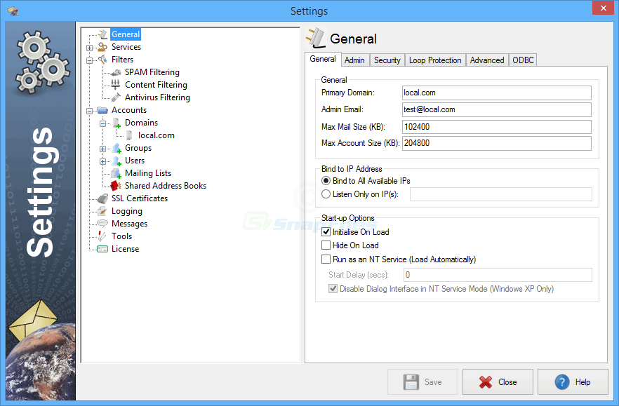 screenshot of Ability Mail Server