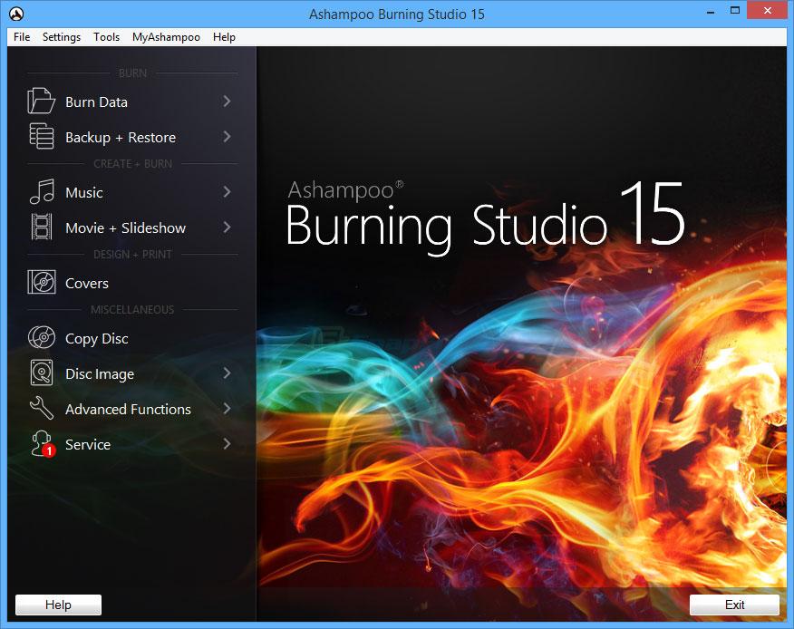 screen capture of Ashampoo Burning Studio