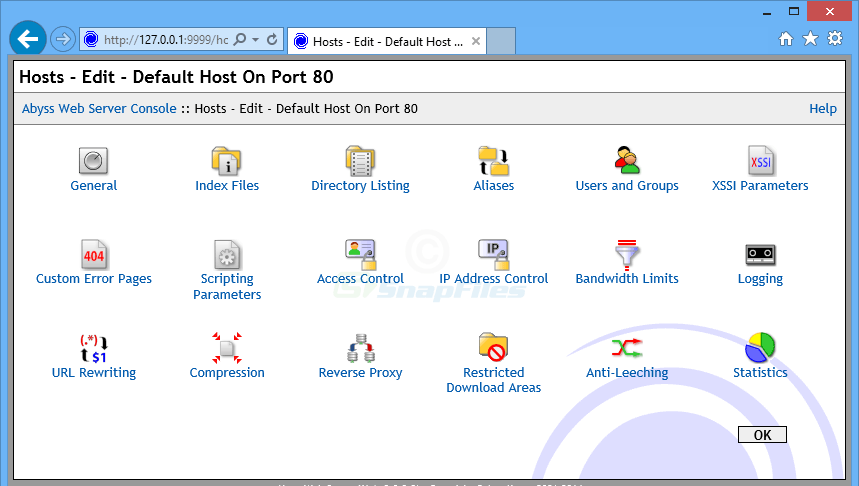 screenshot of Abyss Web Server X1