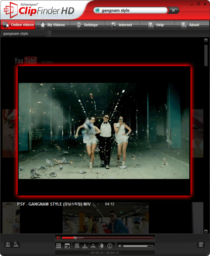 screenshot of Ashampoo ClipFinder HD