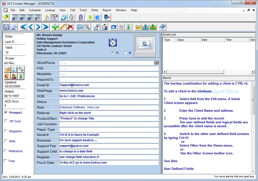 screen capture of Ace Contact Manager