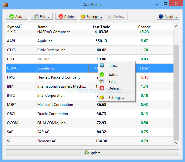 screen capture of AceStock