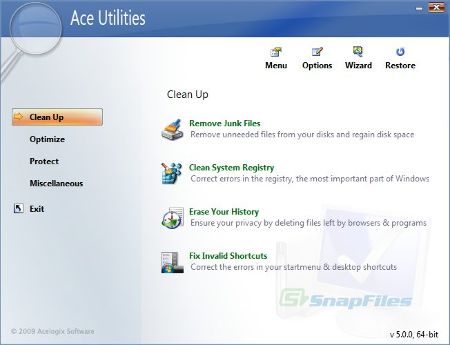 screen capture of Ace Utilities