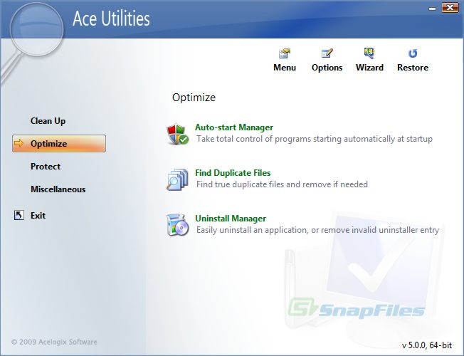 screenshot of Ace Utilities