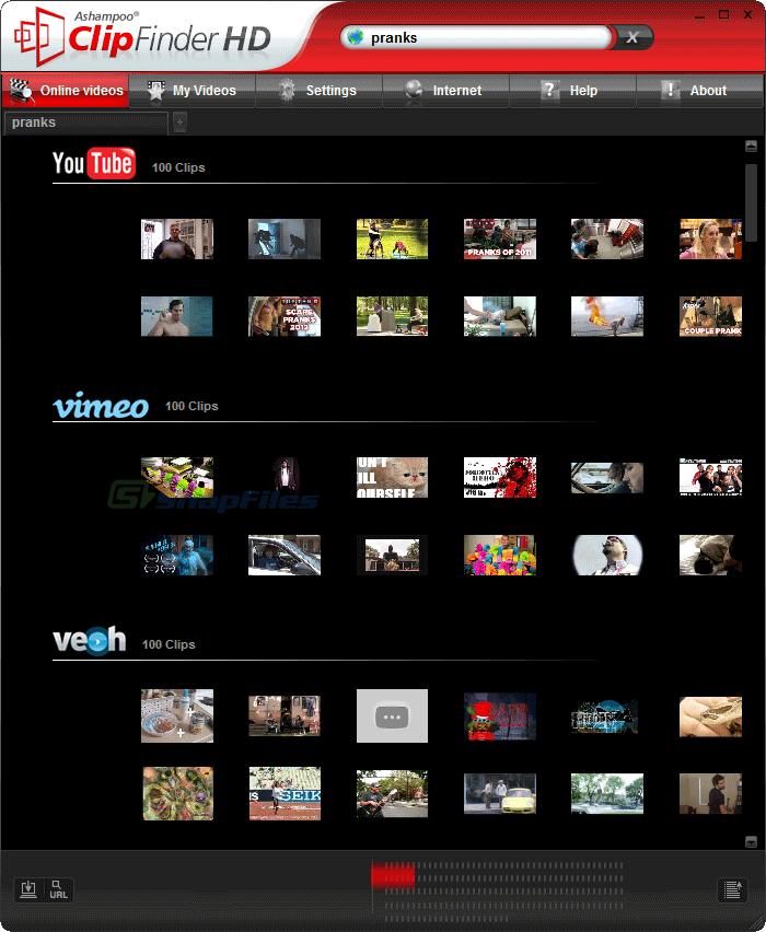 screen capture of Ashampoo ClipFinder HD