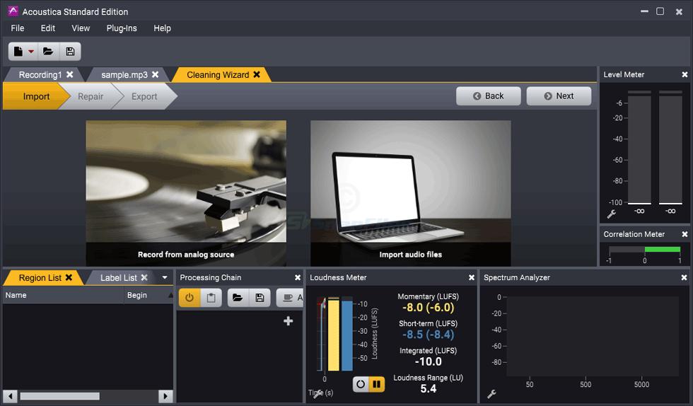 screenshot of Acoustica