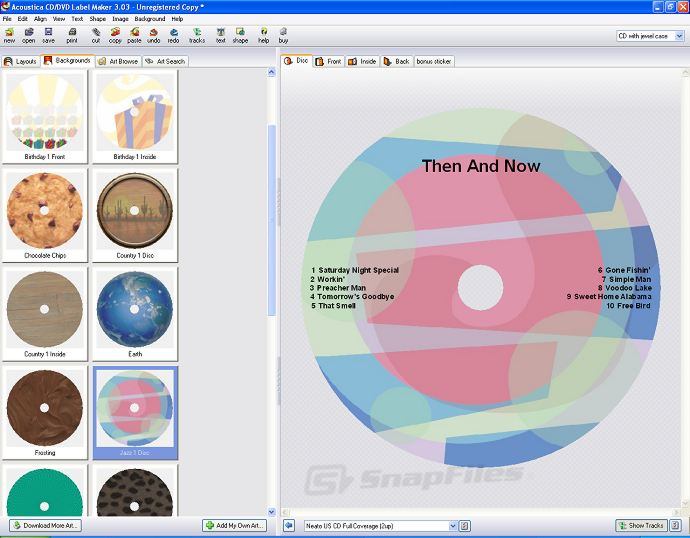 screen capture of Acoustica CD/DVD Label Maker