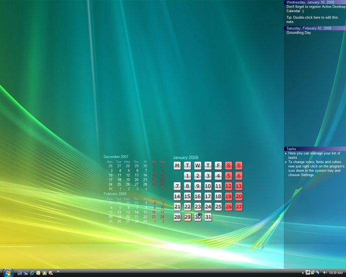 screen capture of Active Desktop Calendar