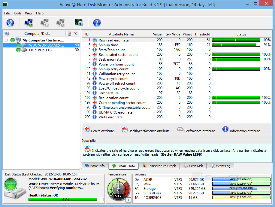 screen capture of Active@ Hard Disk Monitor