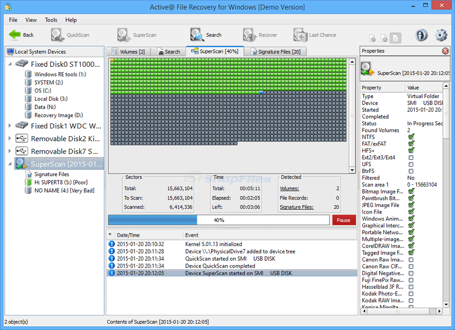 screenshot of Active File Recovery