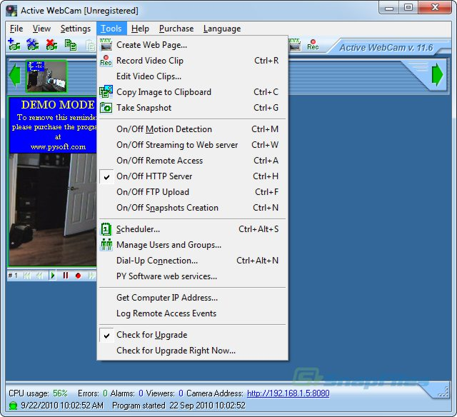 screen capture of Active WebCam