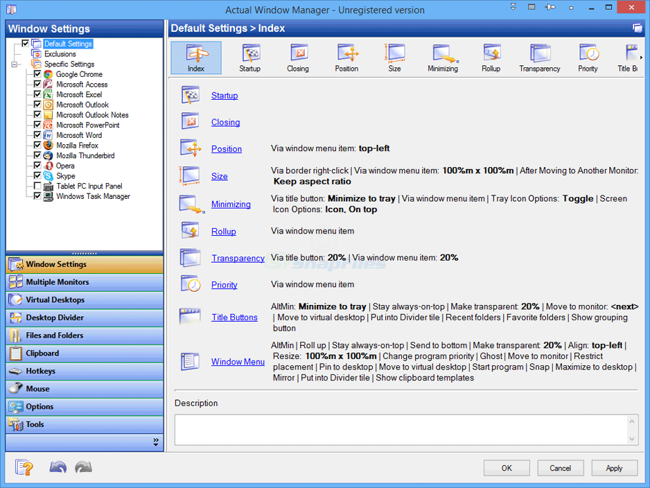 screen capture of Actual Window Manager