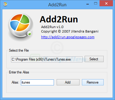screen capture of Add2Run