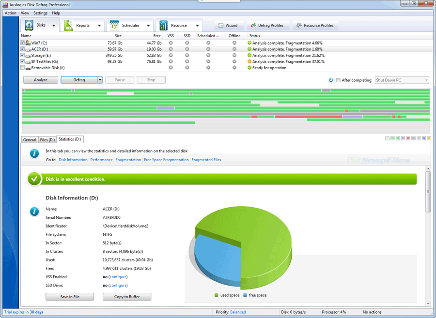 screen capture of Auslogics Disk Defrag Pro