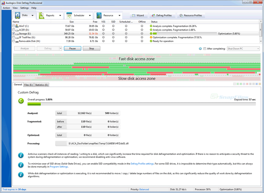 screenshot of Auslogics Disk Defrag Pro