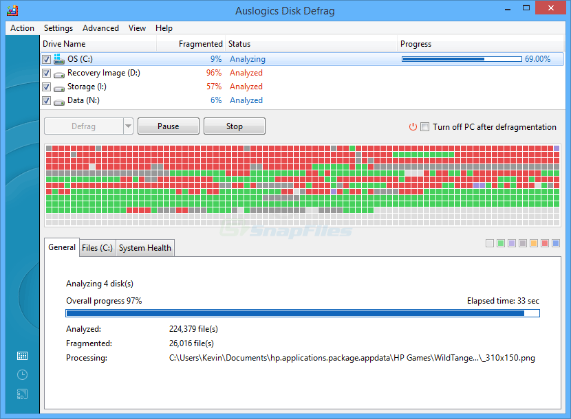 screen capture of Auslogics Disk Defrag