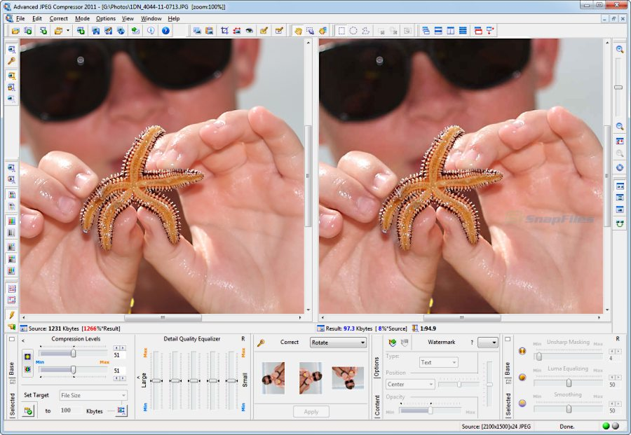 screen capture of Advanced JPEG Compressor