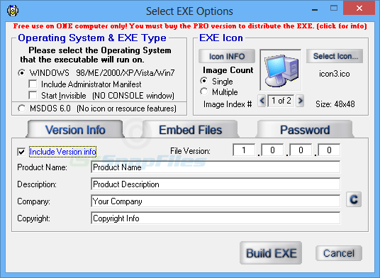 screenshot of Advanced BAT to EXE Converter