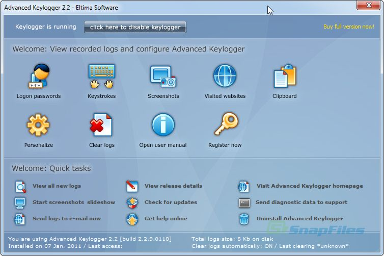 screen capture of Advanced Keylogger