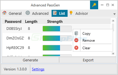 screen capture of Advanced PassGen