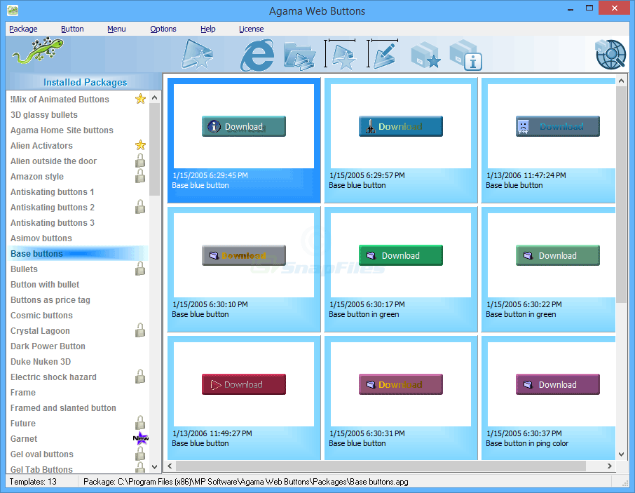 screen capture of Agama Web Menus