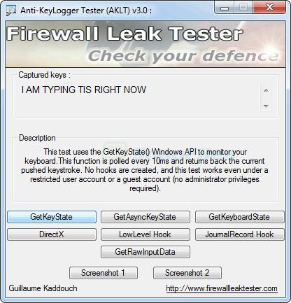 screenshot of Anti-Keylogger Tester (AKLT)