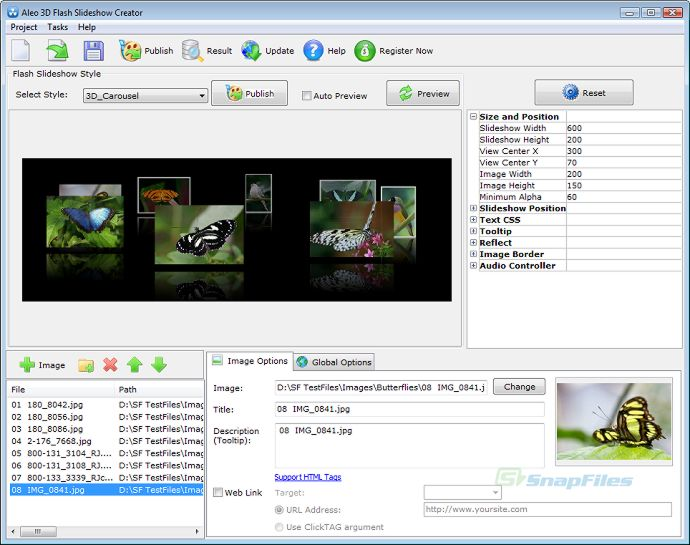 screen capture of Aleo 3D Flash Slideshow Creator