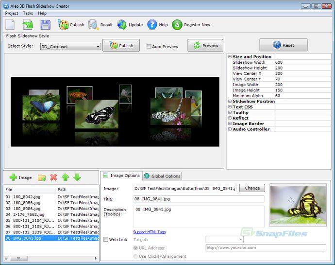 Aleo 3D Flash Slideshow Creator screenshot and download at