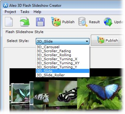 screenshot of Aleo 3D Flash Slideshow Creator