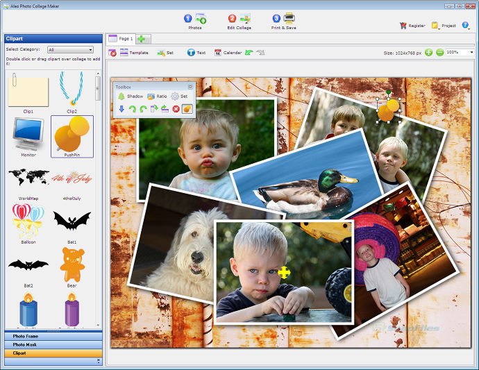 screen capture of Aleo Photo Collage Maker