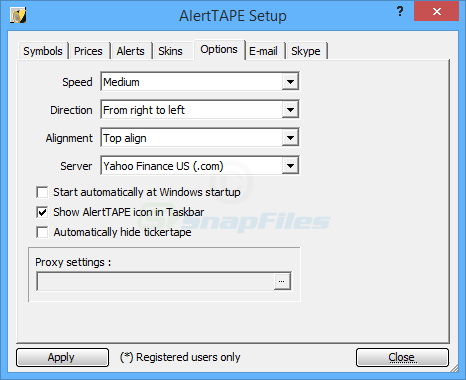 screenshot of AlertTAPE