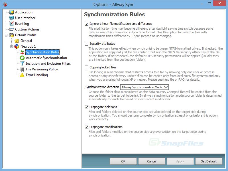 screenshot of Allway Sync