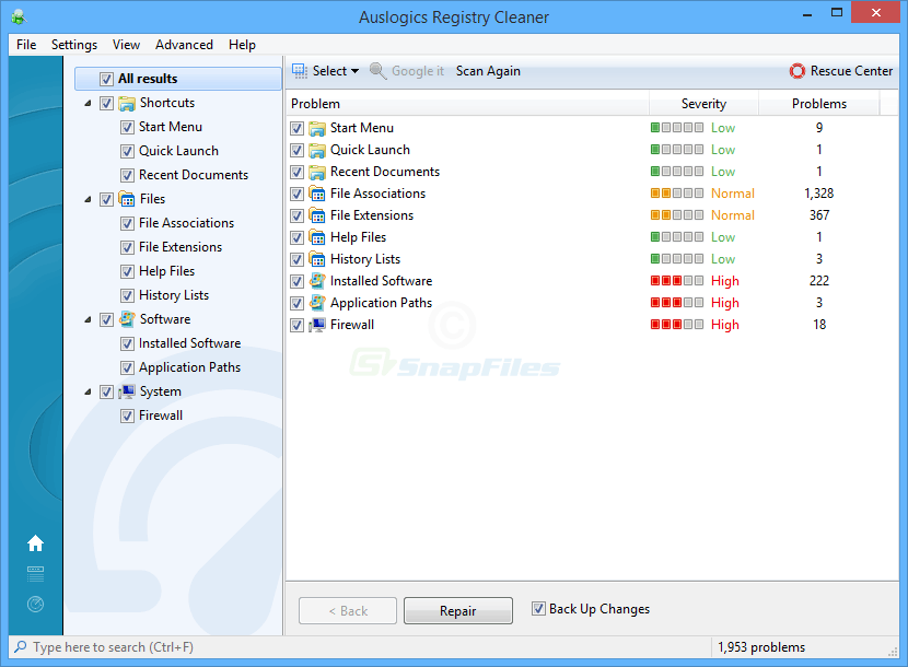 screen capture of Auslogics Registry Cleaner