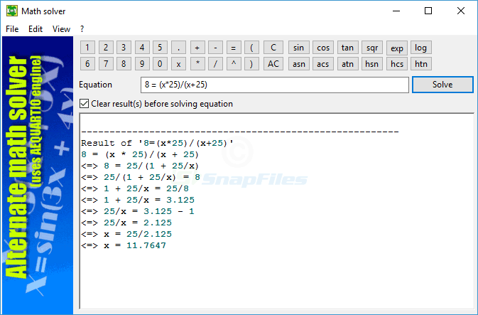 screen capture of Alternate Math Solver