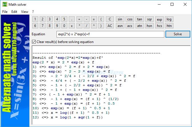 screenshot of Alternate Math Solver