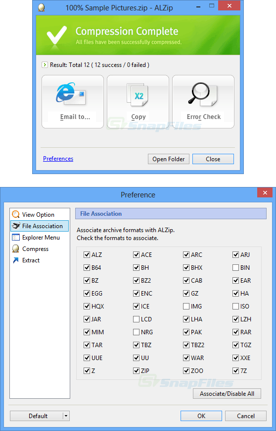 screenshot of ALZip