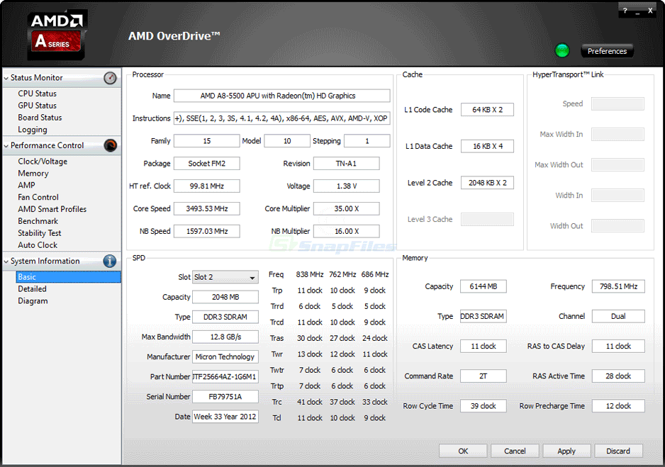 screen capture of AMD Overdrive