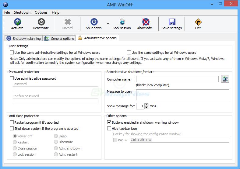 screenshot of AMP WinOFF