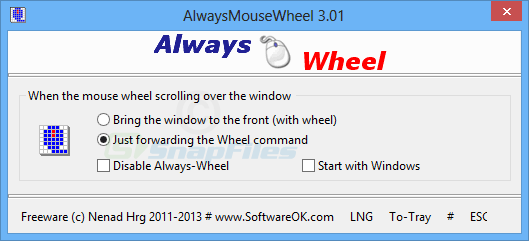 screen capture of AlwaysMouseWheel