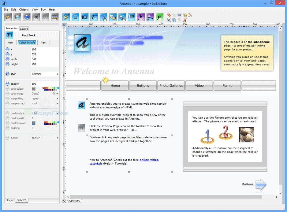 Antenna Web Design Studio - advanced visual web site editor