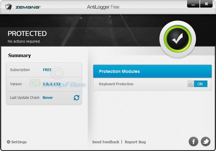 screen capture of Zemana AntiLogger Free
