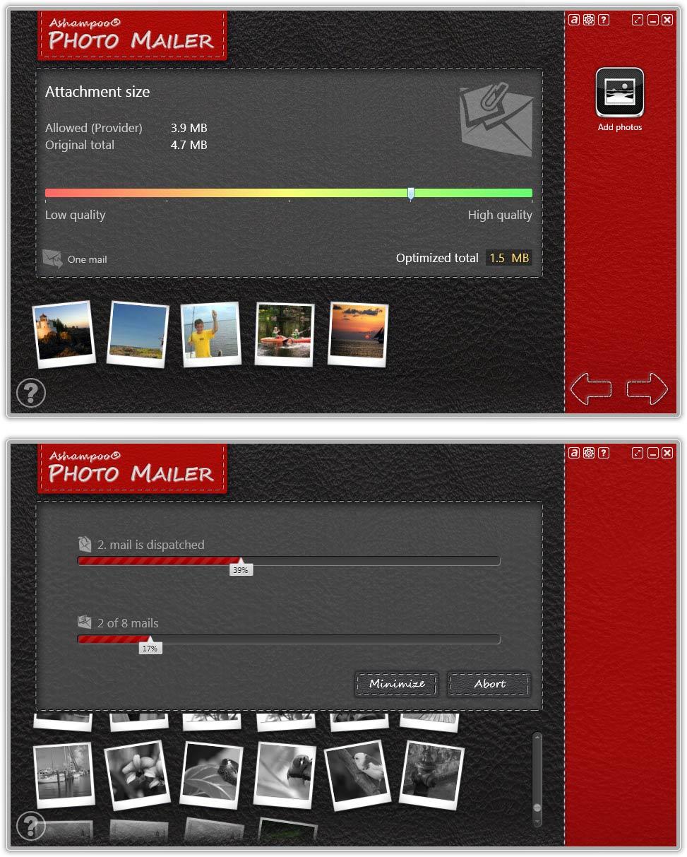 screenshot of Ashampoo Photo Mailer